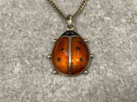 """RARE"" David Andersen silver and enamel Ladybird pendant fully marked on reverse Vintage 1950s"