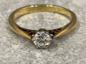 18ct gold platinum round cut diamond solitaire ring size H approx .25ct