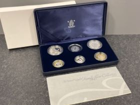 Royal mint silver proof of 2007 family collection of 6 coins in original case with book