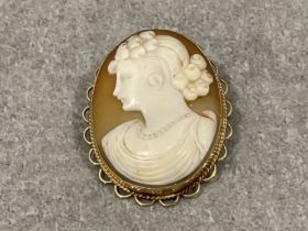 9ct gold cameo brooch/pendant 8.9g