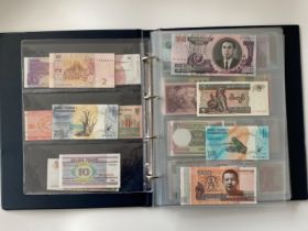 Collectors range album of uncirculated banknotes from around the world, 10 pages to include Asian,