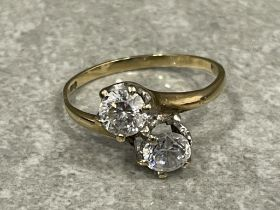 9ct gold 2 stone ring size P