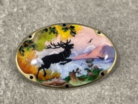 Early Gustav Hellstrom Norway designer sterling silver and pawted enamel brooch fully marked to rear