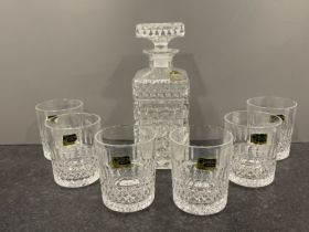Vintage East German crystal decanter and 6 whiskey glasses by Lausitzer 1960s