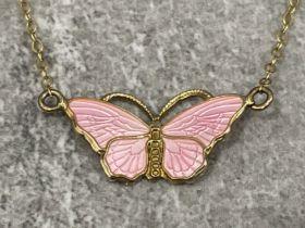 """RARE"" Finn Jensen matching set pendant necklace and bracelet set. Butterfly enamel sterling"