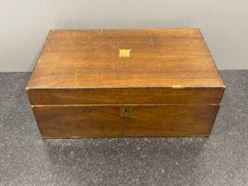 Victorian period walnut writing box (lockable with key) 40cm x 24cm x 16cms