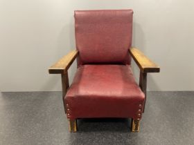 Small childs red arm chair