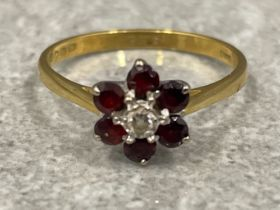 18ct gold diamond and garnet flower cluster ring 2.37g size O1/2