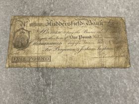Huddersfield bank one pound note dated early 1800s
