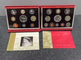 2 Royal mint uk yearly deluxe sets 2002 and 2003 both with original boxes and certificates