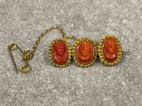 Victorian gold 3 oval coral cameo bar brooch with safety chain