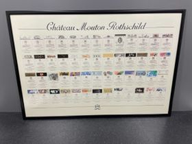 Framed chateau mouton Rothschild wine label poster 103cm x 70cms