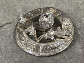1950s Scottish 925 hallmarked Edinburgh silver brooch with cz and incised design with safety chain