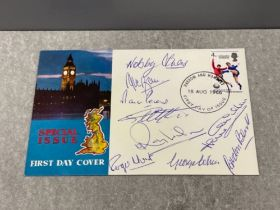 Football 1966 World Cup winners first day cover signed by the winning team except Bobby charlton and