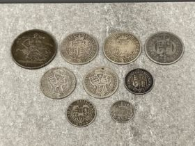Coins Victorian silver 1889 crown, 1887, 1897 and 1901 half crowns 1900, 1901 Florins 1887 and