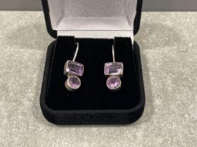 Silver 2 stone amethyst drop earrings