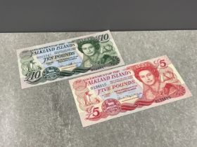 Banknotes Falkland islands 2005 £5 and £10 pristine condition unc (2 notes)