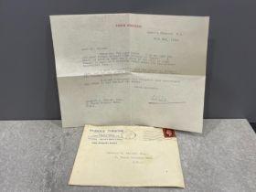 Autograph John Gielgud signed letter to fan
