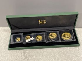 Gold coins - China 2011 pure gold proof set of 5 coins total weight 1.9oz pure still in original