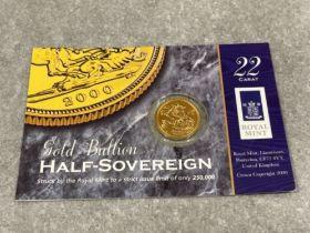 22ct gold 2000 half sovereign Unc in original case