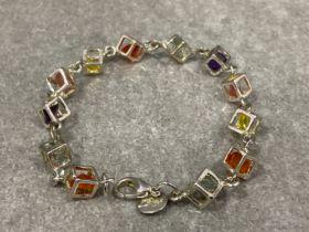 Silver stone set cube link bracelet