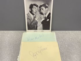 Autographs x2 Dean Martin and Jerry Lewis