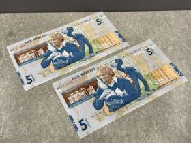 Banknotes royal bank of scotland 2005 £5 jack nicklaus (2) notes consecutive numbers unc