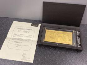 24 carat gold leaf £50 banknote in original case