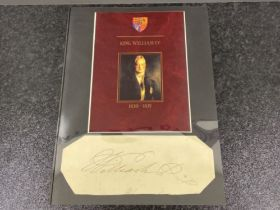 Royalty part document signed by William IV (1765-1837) king of England