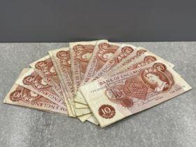 Banknotes 1962-66 10 shillings notes (20) in mixed grade