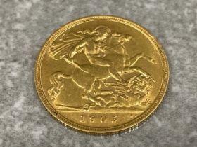 22ct gold 1905 king Edward VII half sovereign coin