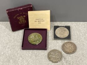 Coins crowns 1935 silver jubilee, 1937 coronation, 1951 Festival of Britain and 1953 coronation