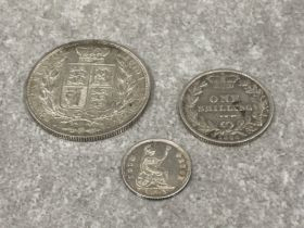 Coins victoria young head 1882 half crown, 1886 shilling and 1843 groat