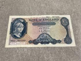 1957-61 £5 helmeted Britannia L.K.O'Brien VF