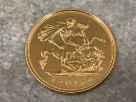 22ct gold 2017 half sovereign coin