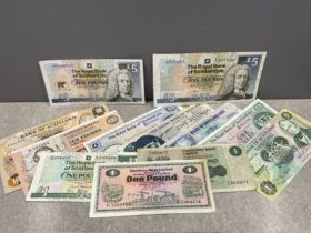 Banknotes Scottish selection of 12 notes