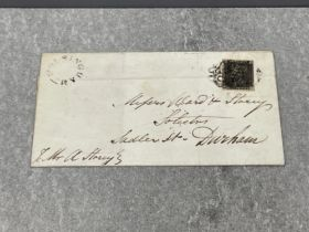 Stamps original penny black on a cover dated March 1841 sent to Sadler street Durham cancelled by
