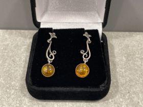 Silver amber drop earrings