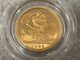 22ct gold 1983 half sovereign proof coin