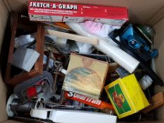Large box containing miscellaneous modeling tools, clamps etc