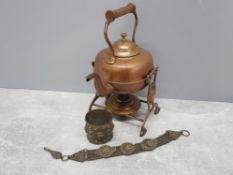 Copper effect spirit kettle with stand together with gladiator style cuff and necklet in the same