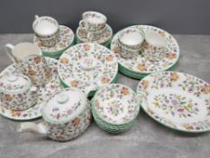 43 pieces of Haddon Hall Minton bone china, plates, bowls, kettle etc