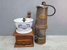 Vintage Patterson miners lamp together with a whittard of Chelsea coffee grinder
