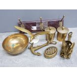 A collection of brassware including lidded pots, 3 way coat hanger, bowl and 2 ship anchors etc