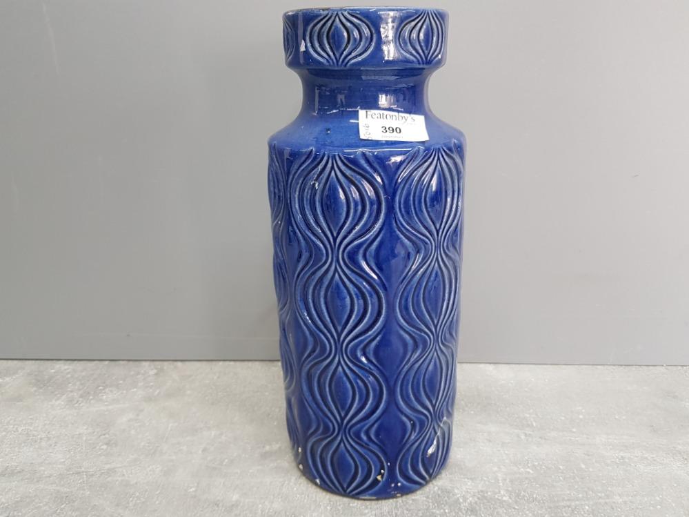 Blue glazed West Germany vase no 285-30 31cm high.