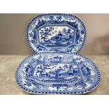 Two 19th Century blue and white serving dishes no 14 and 16, largest measures 42cm wide.