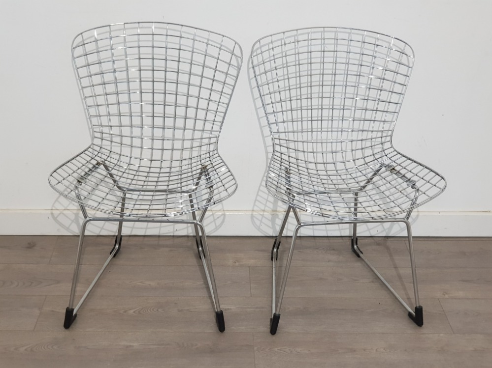 Pair of metal wire chairs