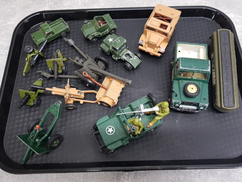 Tray of military related die-cast toys including Britains gunner, Corgi armored jeep etc