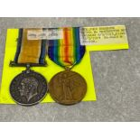 Medals WWI pair, silver and victory medals awarded to Pte John Sharrock Manchester Reg 2420