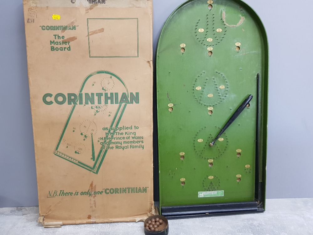 Vintage Corinthian the master board bagatelle game with original box of issue and tin containing